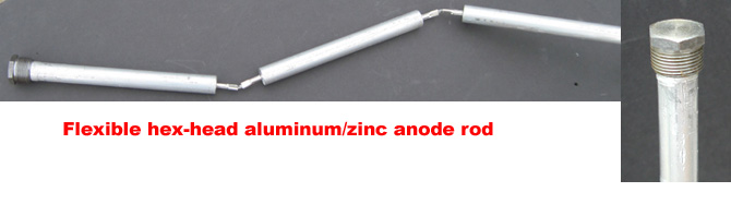 Overview and closeup of flexible hex-head aluminum/zinc anode rod