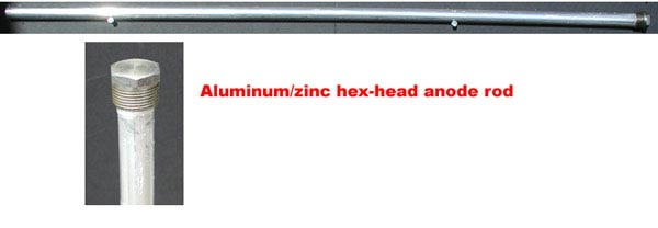 Overview and closeup of solid hex-head aluminum/zinc anode rod